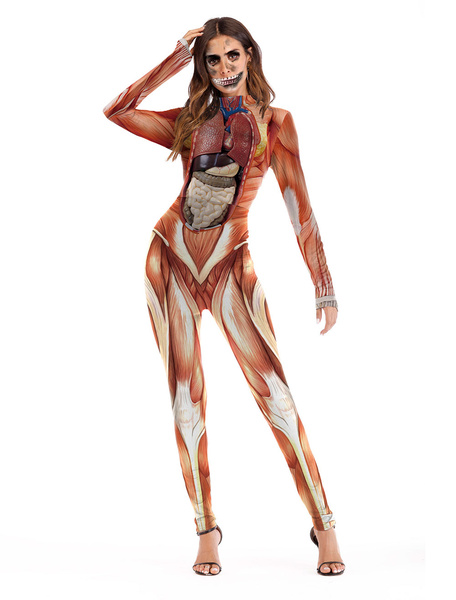 Milanoo Attack On Titan Cosplay Bodysuit Long Sleeve Skinny Catsuit