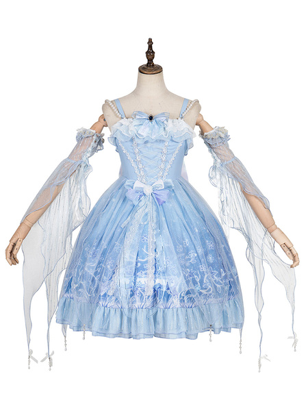 Milanoo Sweet Lolita JSK Dress Deer In The ForestBaby Blue Lolita Jumper Skirts