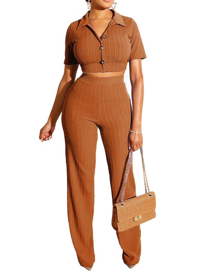 Ericdress Casual Plain Pants Straight Lapel Women's Suit T-Shirt And Pants Two Piece Sets