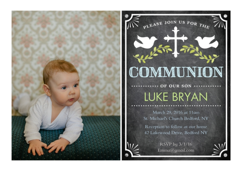 Communion 5x7 Cards, Premium Cardstock 120lb with Rounded Corners, Card & Stationery -Communion Doves with Cross