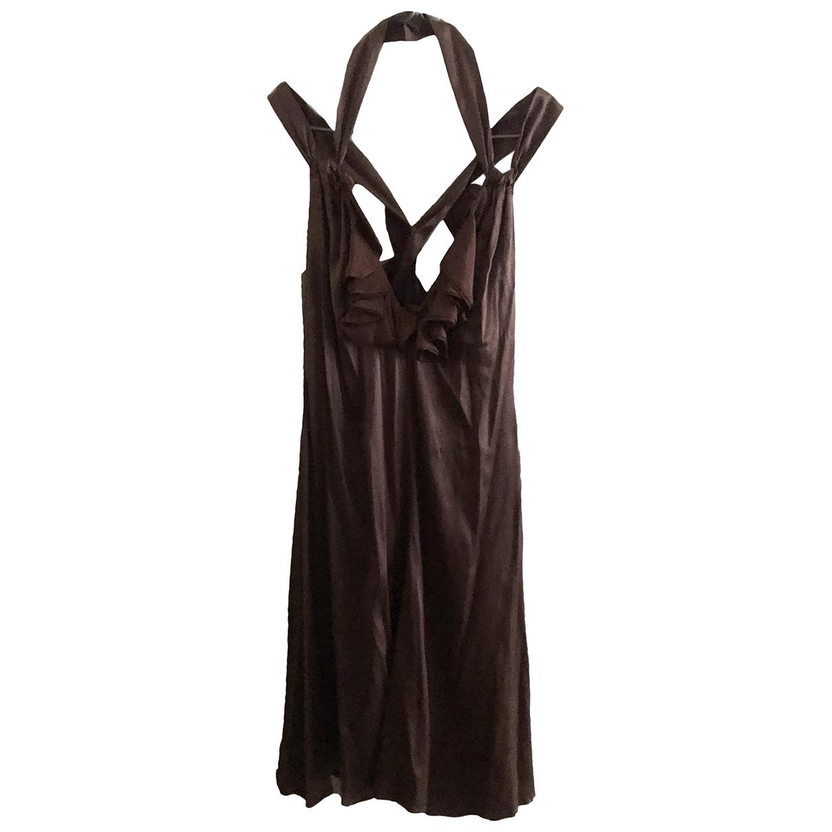 Roberto Cavalli \N Kleid in  Braun Seide