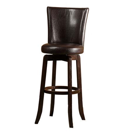 Copenhagen Upholstered Swivel Barstool with Back, One Size , Red