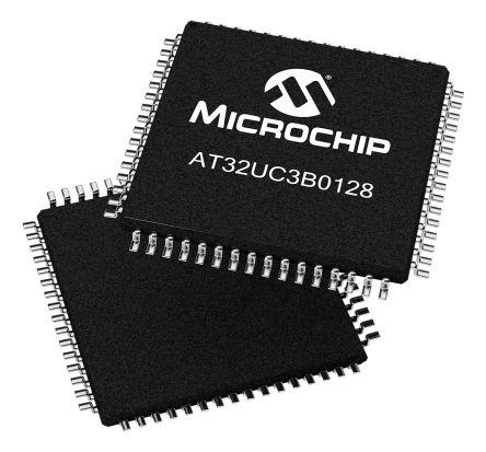 Microchip AT32UC3B0128-A2UT, 32bit AVR32 Microcontroller, AT32, 60MHz, 128 kB Flash, 64-Pin TQFP