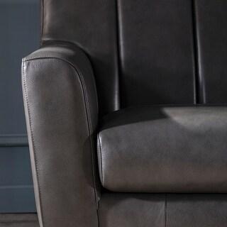 Strick & Bolton Varmvikssund Channel Back Grey Leather Chair - 34.5Lx34Dx34H (Charcoal)