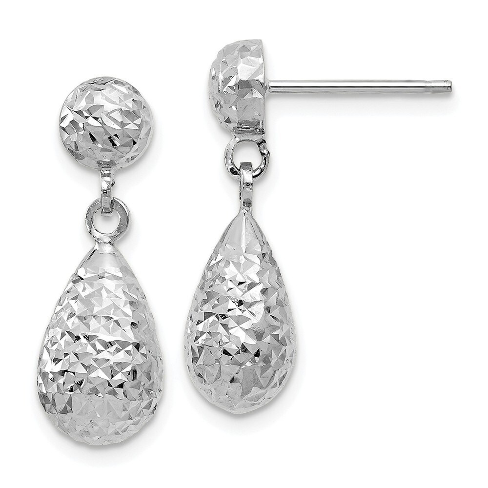 10K White Gold Polished and Diamond Cut Post Dangle Earrings by Versil (White)