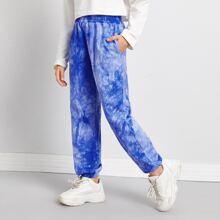 Girls Slant Pocket Tie Dye Sweatpants