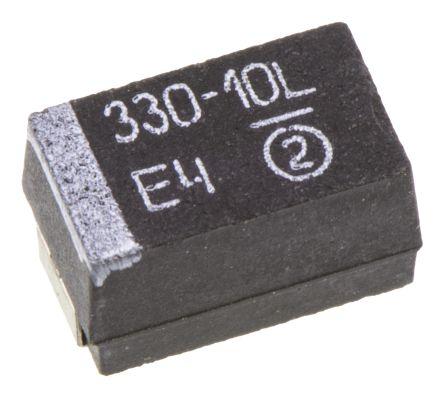 Vishay Tantalum Capacitor 330μF 10V dc MnO2 Solid ±10% Tolerance , 593D (5)