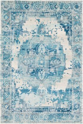 Aura Silk ASK-2328 53 x 76 Rectangle Traditional Rug in Sky Blue  Bright Blue  Navy  White  Medium