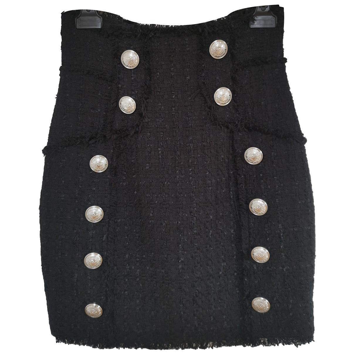 Balmain - Jupe   pour femme en tweed - noir