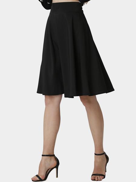 Yoins Black Midi Skater Skirt with Ruffled Hem