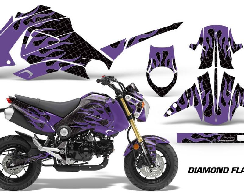 AMR Racing Motorcycle Graphics Kit Decal Sticker Wrap For Honda GROM 125 2013-2016áDIAMOND FLAMES PURPLE BLACK