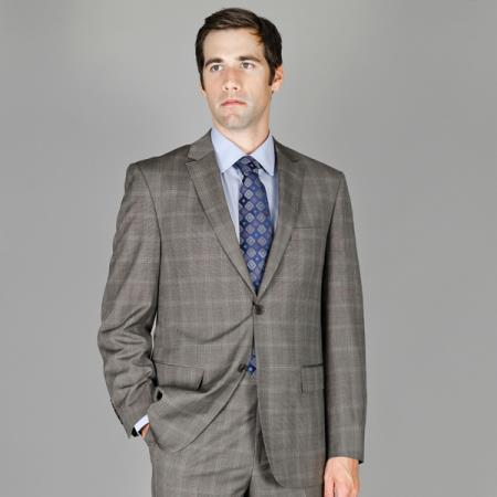 Grey Windowpane 2Button Wool and Silk Blend Suit