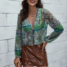 Tribal Print Lace Up Knot Front Blouse