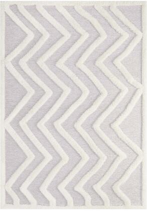 Pathway Collection R-1156A-58 5 x 8 Shag Area Rug with High-Low Texture  Stain Resistant  Abstract Chevron Design  Soft High Density Polyester and