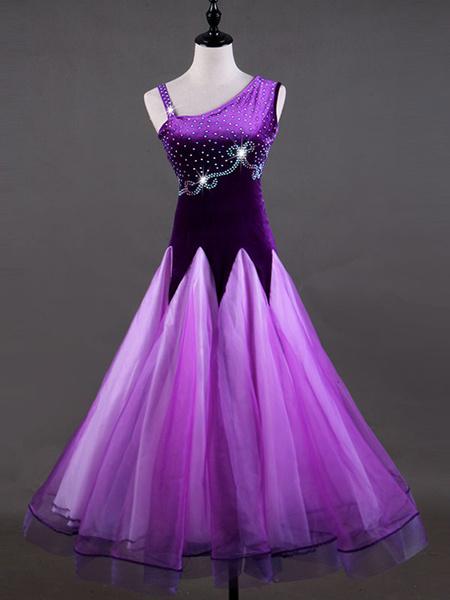 Milanoo Ballroom Dance Costume Dresses Purple Women Long Sleeve Organza Beaded Practice Dancing Costume