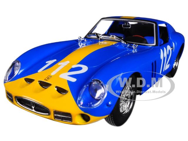 Ferrari 250 GTO 112 Blue with Yellow Stripe 1/24 Diecast Model Car by Bburago