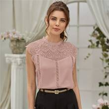 Guipure Lace Panel Keyhole Back Blouse