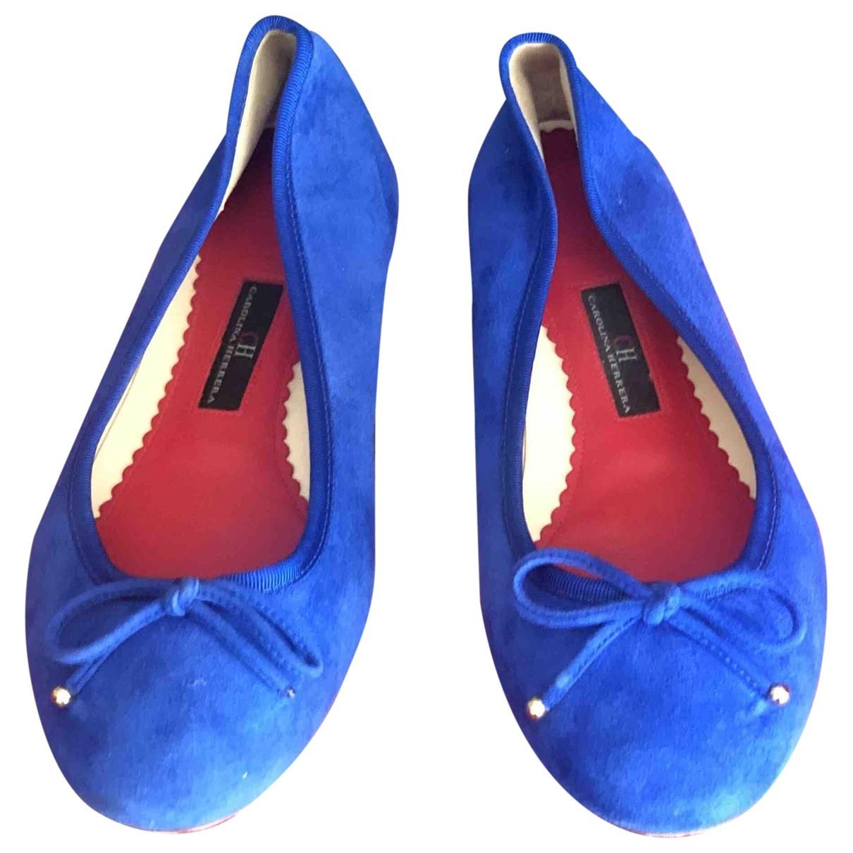 Carolina Herrera - Ballerines   pour femme en suede - bleu