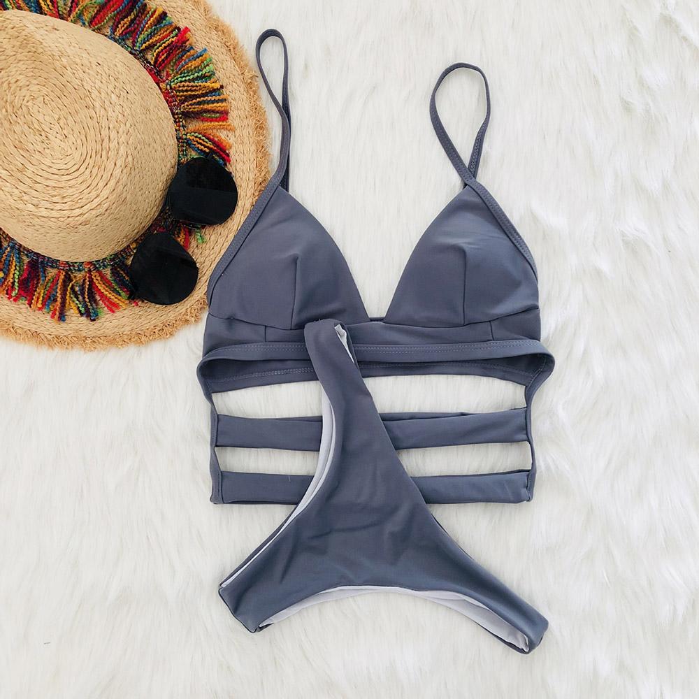 High Cut Sexy Cutout Straps Triangle Bathing Two Pieces Swimsuit Bikini Set