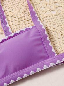 Whip Stitch Thong Bikini Swimsuit