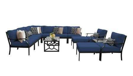 MADISON-13a-NAVY Kathy Ireland Homes and Gardens Madison Ave. 13 Piece Aluminum Patio Set 13a with 1 Set of Snow and 1 Set of Midnight