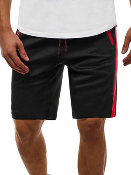 Milanoo Pantalones cortos para hombres Bloque de color Cintura con cordon Verano Ciclismo Pantalones de playa negros