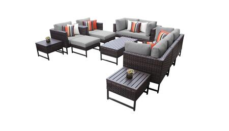 Barcelona BARCELONA-12h-BRN-GREY 12-Piece Patio Set 12h with 4 Corner Chairs  2 Club Chairs  1 Armless Chair  1 Coffee Table  2 Ottomans  2 End