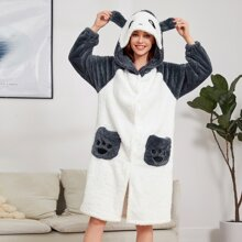 Cartoon Graphic 3D Ear Hooded Flannel Robe