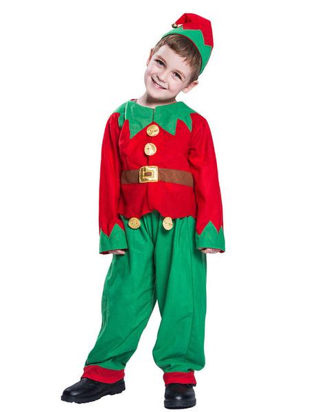 Milanoo Christmas Elf Costume Boys Kids Long Sleeve Top Pants Hat 3 Piece Set Halloween