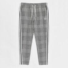 Pantalones de cuadros con cinta lateral de rayas de cintura con cordon