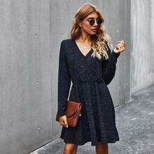 Surplice Neck Rib-knit A-line Dress