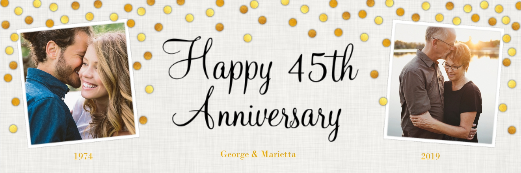 Anniversary 2x6 Adhesive Banner, Home Décor -Gold Anniversary