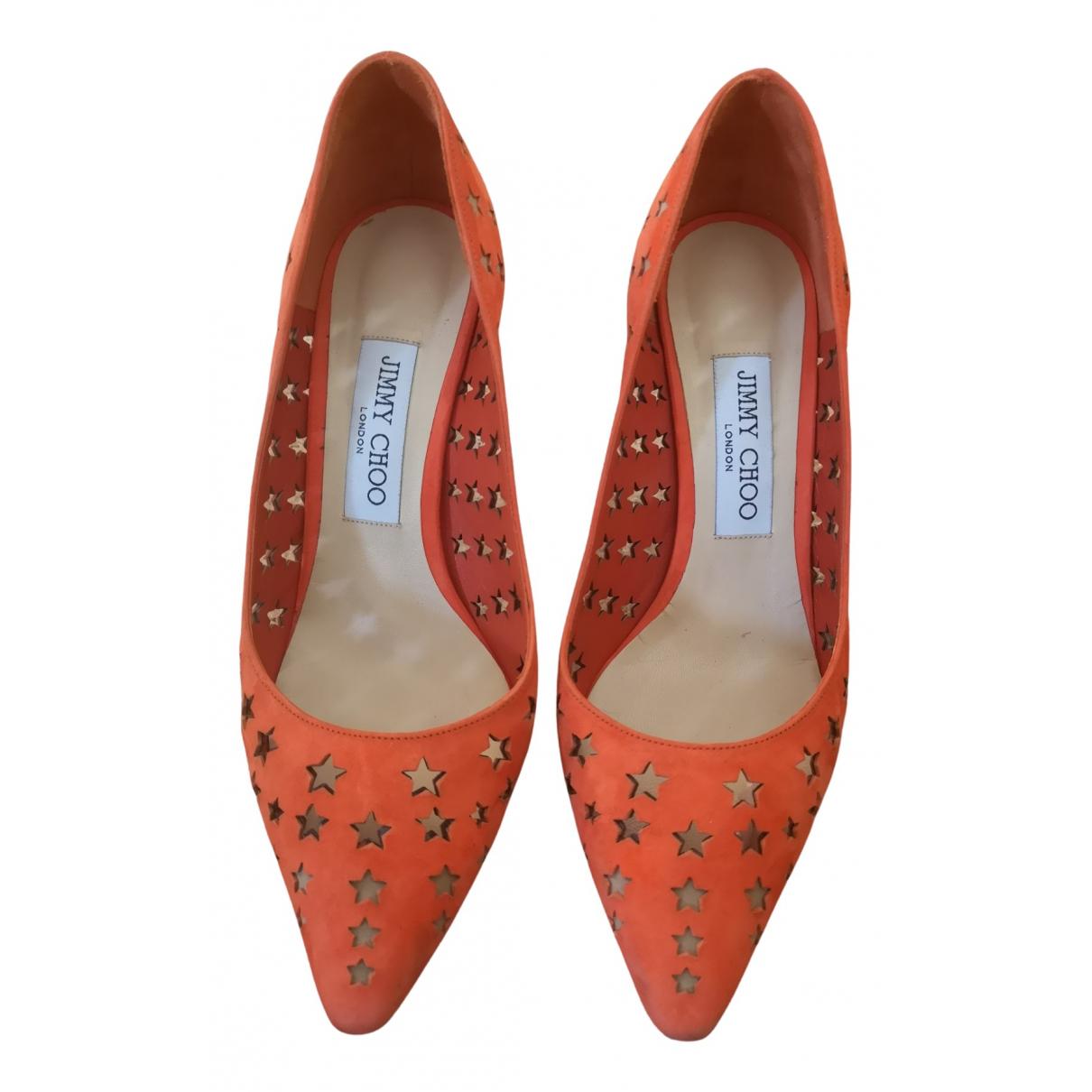 Jimmy Choo - Escarpins   pour femme en suede - orange