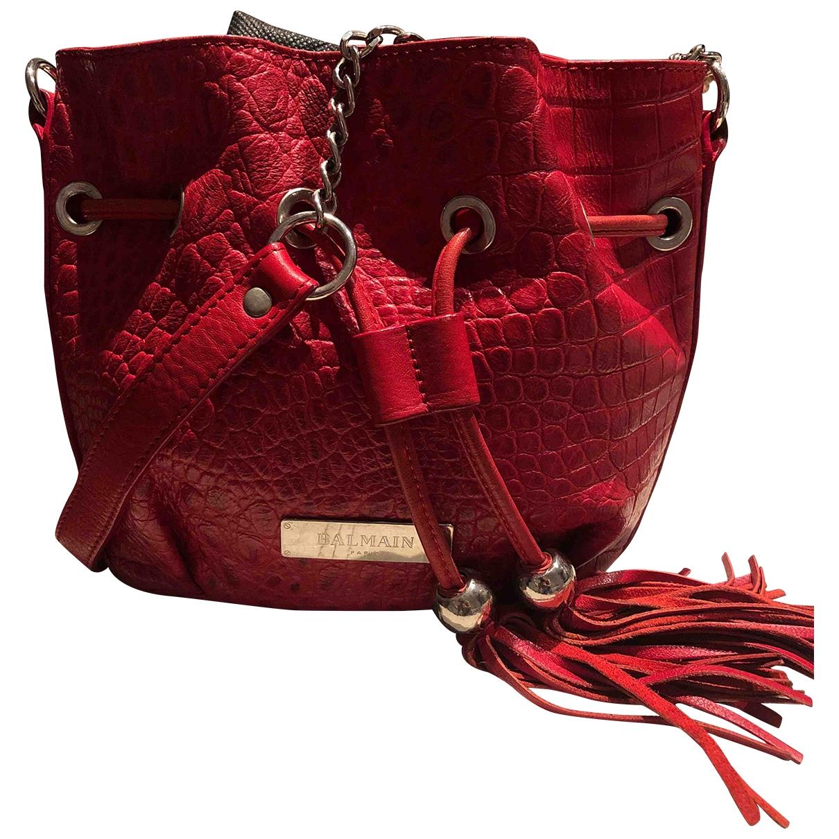 Balmain - Sac a main   pour femme en cuir - rouge