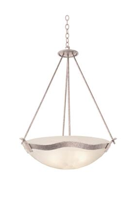 Aegean 5458PS/BUDDA 27 Pendant in Pearl Silver with Buddha Leaf Natural Bowl Glass