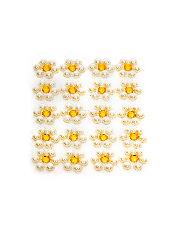 Kostuemzubehor Strasssticker Blume gelb/weiss 20 Stk.