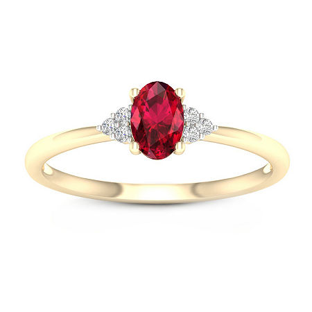 Womens Genuine Red Ruby 10K Gold Promise Ring, 7 1/2 , No Color Family