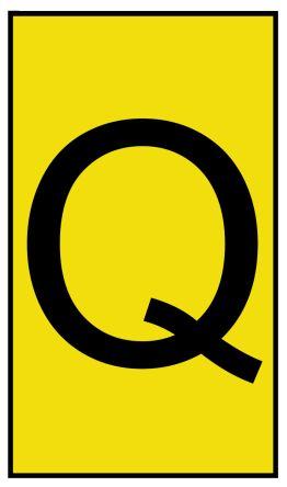 HellermannTyton Ovalgrip Slide On Cable Marker, Pre-printed Q Black on Yellow 2.5 → 6mm Dia. Range