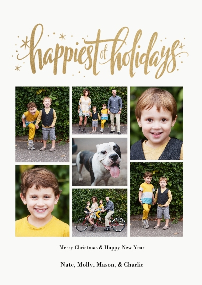 Christmas Photo Cards 5x7 Cards, Standard Cardstock 85lb, Card & Stationery -Happiest of Holidays Gold