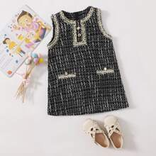 Tweed Kleid mit Karo Muster und Kontrast Bindung