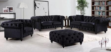 Chesterfield 662BL-S-L-C-O 4 Piece Living Room Set with Sofa + Loveseat + Chair and Ottoman in