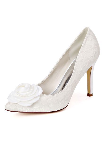Milanoo Lace Wedding Shoes Ivory Pointed Toe Flowers Stiletto Heel Bridal Shoes