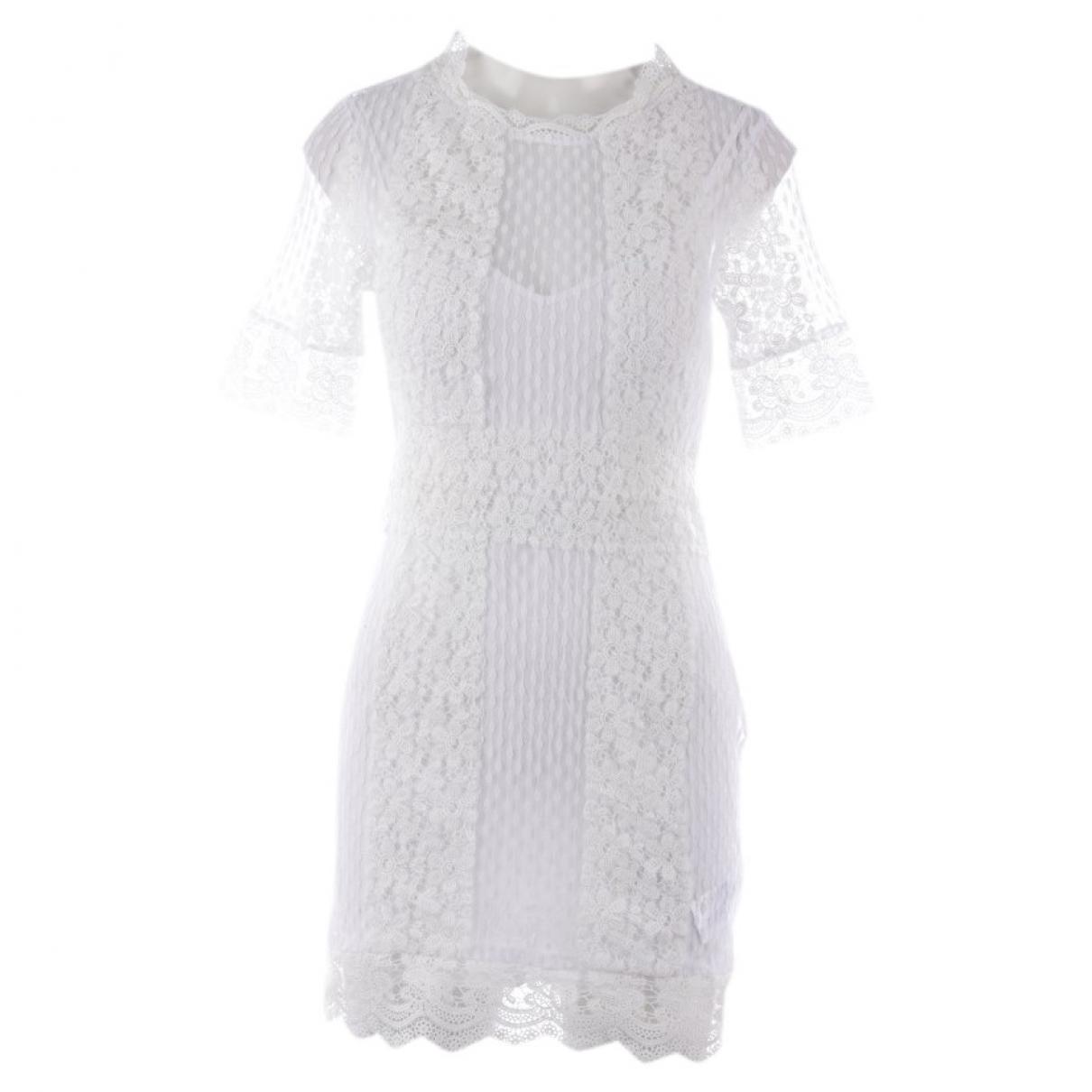 Maje \N Kleid in  Weiss Baumwolle