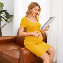 Maternity Solid Rib-knit Dress
