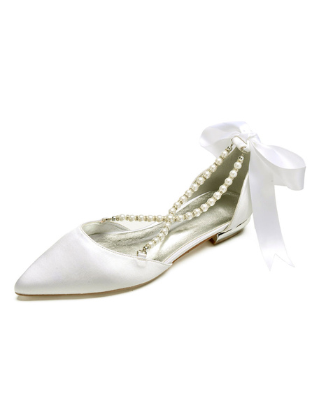 Milanoo Pointed Toe Bridal Pumps Satin Ribbon Bow Pearl Strappy White Puppy Heel Wedding Shoes