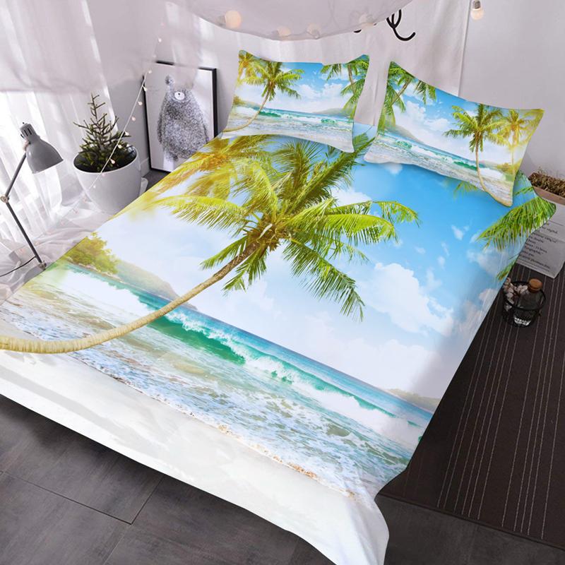 3D Coastal Coconut Tree and Sea 3Pcs Scenery Comforter Set with 2 Pillow Shams