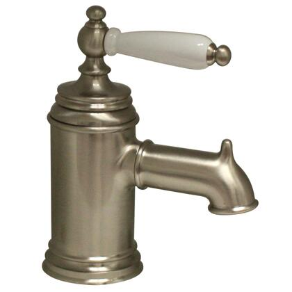 N21-P-BN Fountainhaus single hole/single lever lavatory faucet with porcelain handle and pop-up