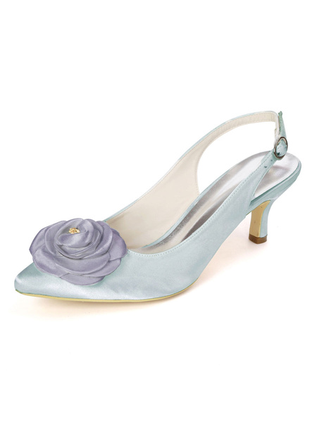 Milanoo Wedding Shoes White Satin Flowers Pointed Toe Stiletto Heel Bridal Shoes