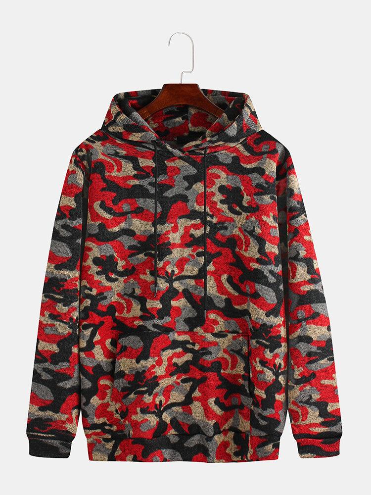 Mens Multi Color Camouflage Printed Muff Pocket Drawstring Hoodies