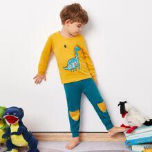 Conjunto de pijama top con estampado de estrella con pantalones